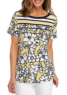 Alfred Dunner Petite Seas the Day Striped Yoke Floral Top