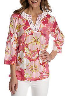 Alfred Dunner Reel It In Floral Print Woven Top