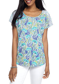 Alfred Dunner Reel It In Jellyfish Tee