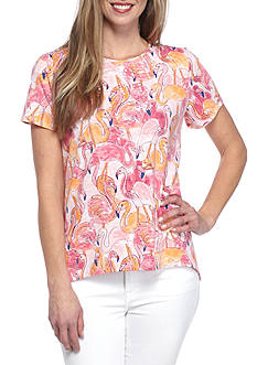 Alfred Dunner Reel It In Flamingo Tee