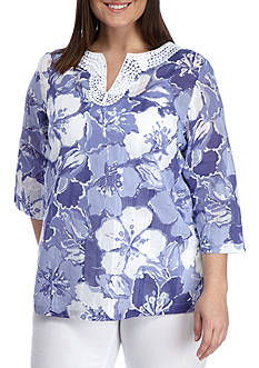 Alfred Dunner Plus-Size Reel it In Floral Tunic