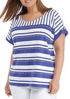 Alfred Dunner Plus Size Striped Square Neck Knit Top