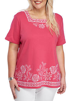 Alfred Dunner Reel It In Seashell Embellished Short Sleeve Top