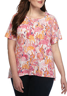 Alfred Dunner Plus Reel It In Flamingo Sharkbite Knit Top