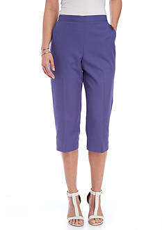 Alfred Dunner Petite Reel It In Solid Cuff Capri