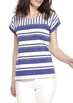 Alfred Dunner Petite Reel It In Monotone Stripe Top