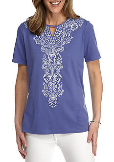 Alfred Dunner Reel It In Seahorse Shell Embellished Tee