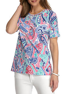 Alfred Dunner Petite Reel It In Abstract Fish Tee
