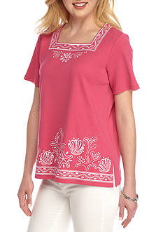 Alfred Dunner Petite Reel It In Embellished Border Print Tee
