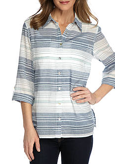Alfred Dunner Indigo Girls Horizontal Stripe Woven Top
