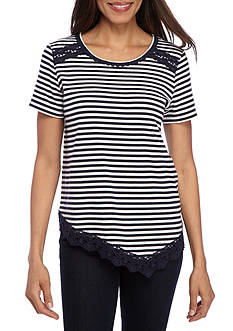 Alfred Dunner Girls Who Lunch Lace Trim Stripe Knit