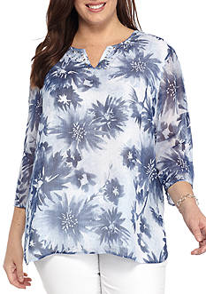 Alfred Dunner Plus-Size Indigo Girls Textured Floral Top