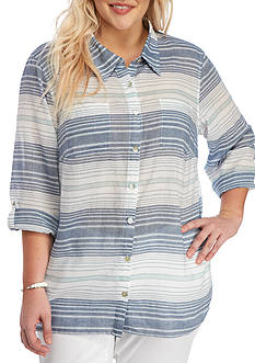 Alfred Dunner Plus-Size Indigo Girls Horizontal Stripe Top