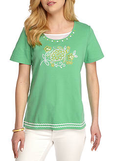 Alfred Dunner Bahama Bays Center Beaded Turtle Knit Top