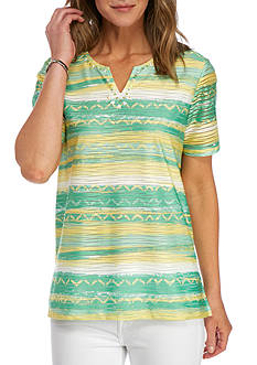 Alfred Dunner Bahama Bays Textured Stripe Knit Top