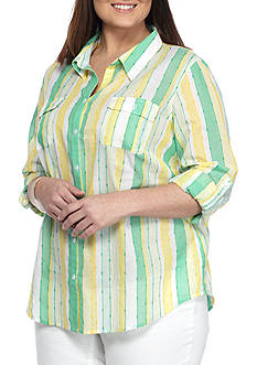 Alfred Dunner Plus Bahama Bays Stripe Woven Shirt