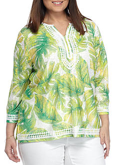 Alfred Dunner Plus Bahama Bays Tropic Textured Knit Top