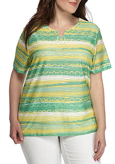 Alfred Dunner Plus Bahama Bays Textured Stripe Knit Top