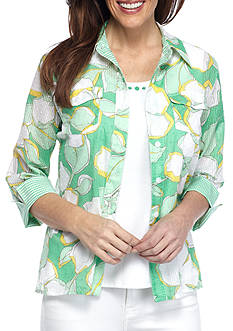 Alfred Dunner Petite Bahama Bays Floral Blouse
