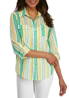 Alfred Dunner Petite Bahama Bays Stripe Woven