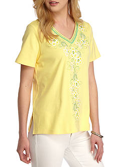 Alfred Dunner Petite Bahamas Bay Center Floral Embroidered Top