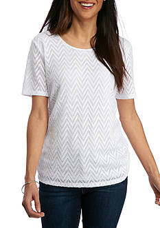Alfred Dunner Petite Bahama Bays Solid Texture Lace Yoke Top
