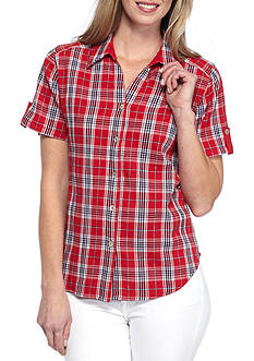 Alfred Dunner Lady Liberty Plaid Blouse