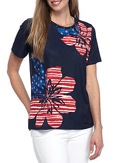 Alfred Dunner Lady Liberty Floral Flag Tee