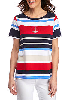 Alfred Dunner Lady Liberty Stripe Tee