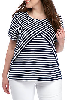 Alfred Dunner Plus Lady Liberty Stripe Knit Tee