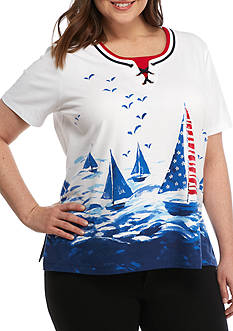 Alfred Dunner Plus Lady Liberty Sailboat Tee