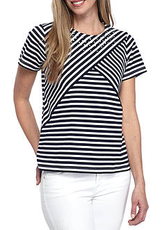 Alfred Dunner Petite Lady Liberty Stripe Knit Top
