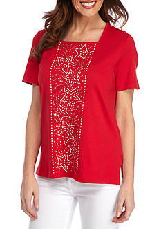 Alfred Dunner Petite Lady Liberty Center Stars Tee