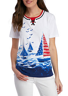 Alfred Dunner Petite Lady Liberty Sailboat Scenic Tee