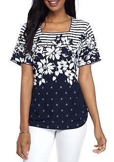 Alfred Dunner Petite Lady Liberty Striped Floral Tee