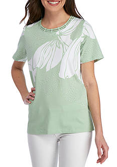 Alfred Dunner Garden Party Print Tee