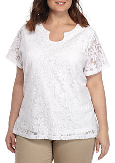 Alfred Dunner Plus Garden Party Lace Tee