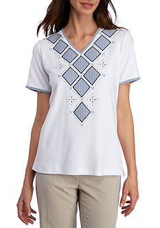 Alfred Dunner Petite Garden Party Diamond Tee