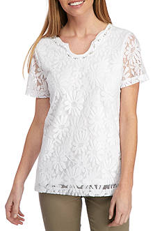 Alfred Dunner Petite Garden Party Lace Tee