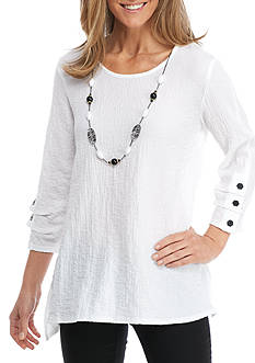 Alfred Dunner Lace Woven Necklace Top