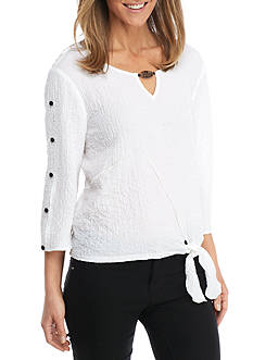 Alfred Dunner Lace Tie Front Woven Blouse