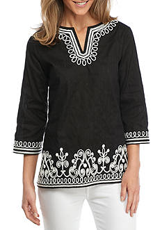Alfred Dunner Lace Embroidered Split Neck Tunic