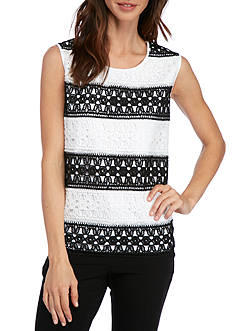 Alfred Dunner Lace It Up Biadere Knit Top