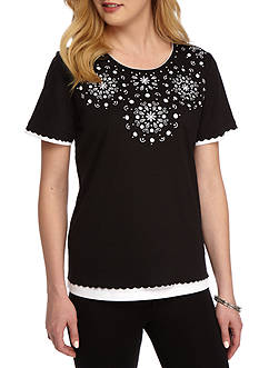 Alfred Dunner Lace It Up Medallion Yoke Knit Top