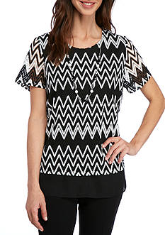 Alfred Dunner Lace It Up Chevron Tiered Tee
