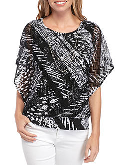 Alfred Dunner Lace Patchwork Shell with Cami