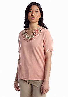 Alfred Dunner Romancing The Stone Embellished Solid Top