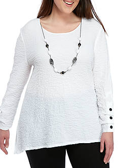 Alfred Dunner Plus Lace It Up Shark-Bite Blouse