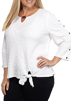 Alfred Dunner Plus Lace It Up Tie Front Blouse