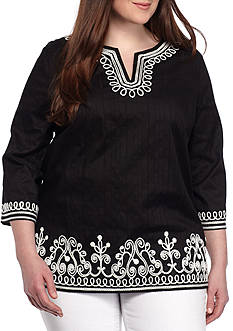 Alfred Dunner Plus Size Embroidered Tunic